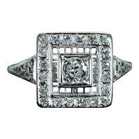 Art Deco Filigree Diamond Engagement Ring in 18K White Gold