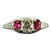 Art Deco GIA Certified Diamond & Ruby Three Stone Engagement Ring in Platinum