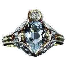 Art Nouveau Aquamarine & Diamond Ring in Platinum, 14K Yellow Gold