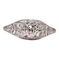 Sale! Enchanting Edwardian Platinum Diamond Engagement Ring