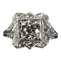 Art Deco GIA Certified 1.02ct Old European Cut Diamond Engagement Ring in Platinum