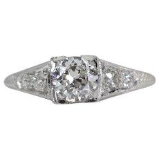 Hand Engraved Art Deco 0.67ct Diamond Engagement Ring in Platinum