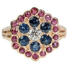 Victorian Patriotic Diamond Sapphire & Ruby Ring in 14K Yellow Gold