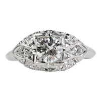 Circa 1940's Art Deco 0.65ct Diamond Engagement Ring in Platinum