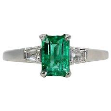 Circa 1940's Art Deco Colombian Emerald & Diamond Ring in Platinum