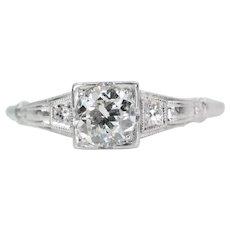 Hand Crafted Art Deco Platinum & 0.54ct Diamond Engagement Ring