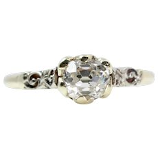 Victorian Old Mine Cut Diamond Engagement Ring in Platinum & Yellow Gold