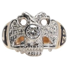 Antique 32nd Degree Masonic Scottish Rite Ring Platinum, 14K Gold
