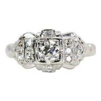 Vintage 0.42ct Diamond Engagement Ring in 18K White Gold