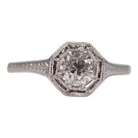Sale! Classic Art Deco Diamond Solitaire Engagement Ring in Platinum