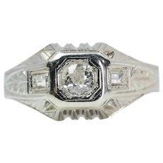 1920's Art Deco Mens Diamond Ring in 18K White Gold