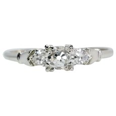 Mid Century Three Stone Old Mine Cut Diamond Engagement Ring in White Gold