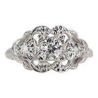 Vintage 1940's Diamond Solitaire Floral Engagement Ring in 14k White Gold