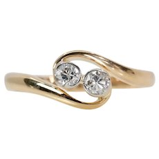 Edwardian Twin Stone Diamond Ring in 18K Gold and Platinum