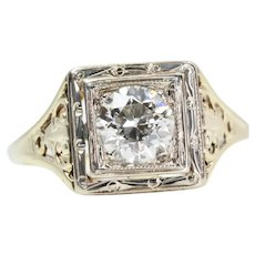 Art Deco Filigree Diamond Solitaire Engagement Ring in 14K Yellow Gold