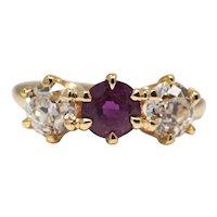 Sale! Victorian Diamond & Ruby Three Stone Ring in 18K Yellow Gold