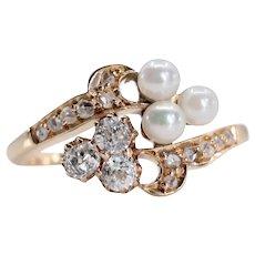 Victorian Natural Pearl & Mine Cut Diamond Ring in 18K Gold