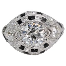 Dramatic Art Deco GIA Diamond & Onyx Engagement Ring in Platinum