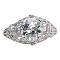 Art Deco 1.73ct Old Mine Cut Diamond Filigree Engagement Ring in Platinum