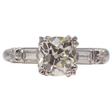 Sale! Classic 1950's American 1.62ct Diamond Engagement Ring in Platinum
