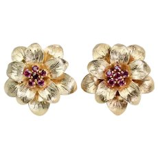 Tiffany & Co Blossoming Ruby Flower Earrings in 18K Yellow Gold