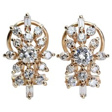 Tiffany & Co Sparkling Baguette & Round Diamond Earrings in 14K Yellow Gold
