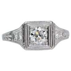 Hand Engraved 1920's Art Deco 0.45ct Diamond Engagement Ring in Platinum