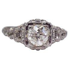 Lyre Motif Filigree Art Deco 1.02ct Diamond Engagement Ring