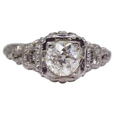 Sale! Lyre Motif Filigree Art Deco 1.02ct Diamond Engagement Ring