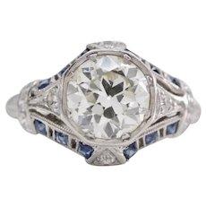 Art Deco 1.34ct Diamond & Sapphire Engagement Ring in Platinum