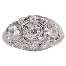Art Deco 2.19ct Old Mine Cut Diamond Three Stone Ring in Platinum