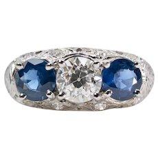 Art Deco 1.05ct Diamond & Sapphire Three Stone Ring in Platinum