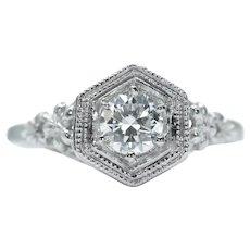 Art Deco 0.42ct European Cut Diamond Solitaire Filigree Engagement Ring