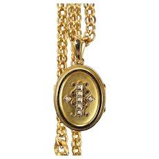 Victorian Locket & Fancy Link Chain Suite in 14K Yellow Gold