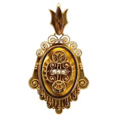 Victorian Etruscan Revival Locket in 14K Yellow Gold