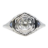 Art Deco Diamond & Sapphire Three Stone Filigree Engagement Ring