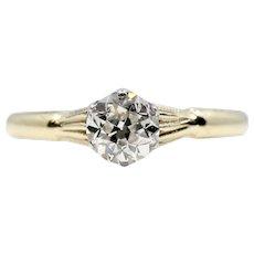 Edwardian 0.15ct Platinum & 18K Yellow Gold Diamond Solitaire Engagement Ring