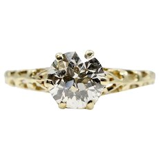 Victorian 0.97ct Diamond Solitaire Engagement Ring in 14k Yellow Gold