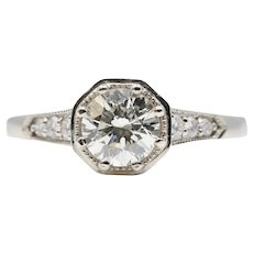 Art Deco Style 0.70ct Diamond Engagement Ring in 14K White Gold