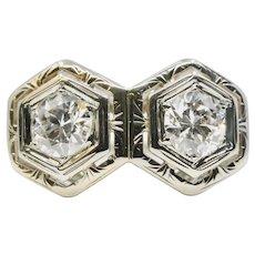 Art Deco Double Diamond Toi Et Moi Filigree Ring in 18K White Gold