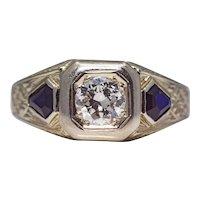 Sale! Art Deco Diamond & Kite Shaped Sapphire Mens Ring in 18K White Gold