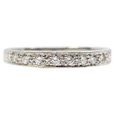Art Deco Hand Engraved Platinum & Diamond Wedding Band