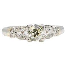 Art Deco European & Marquise Cut Diamond Engagement Ring in Platinum