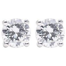 Sparkling 1.00 Carat Diamond Stud Earrings in 14K White Gold