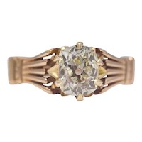 Sale! Victorian 1.20ct Diamond Solitaire Engagement Ring in 18K Gold