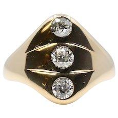 Victorian Old Mine Cut Diamond Trilogy Three Stone Ring in 14k Yellow Gold