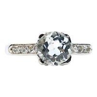 Mid Century Retro Aquamarine & Diamond Ring in Platinum Alternative Engagement