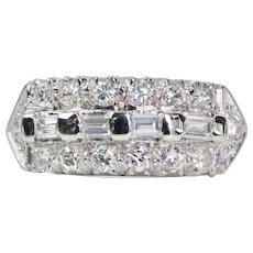 Retro Baguette and Round Diamond Wedding Band in 14K White Gold