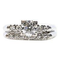Mid Century 0.72ct Diamond Engagement & Wedding Suite in Platinum
