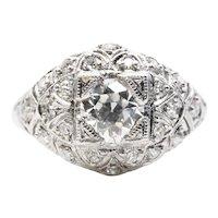 Art Deco GIA G VVS2 Diamond Engagement Ring in Platinum